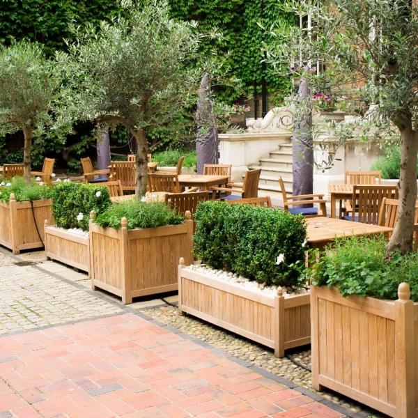 Bespoke hardwood planters Olive trees