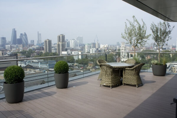 London roof terrace Fibrecement designer planters buxus balls