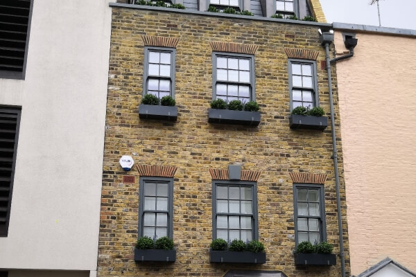 Window boxes with Artificial Buxus balls Chelsea