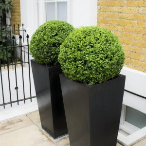 Polystone Tall Black tapered Square Planter High vase